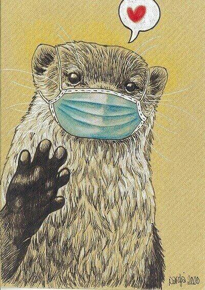 Otter Met een mondkap